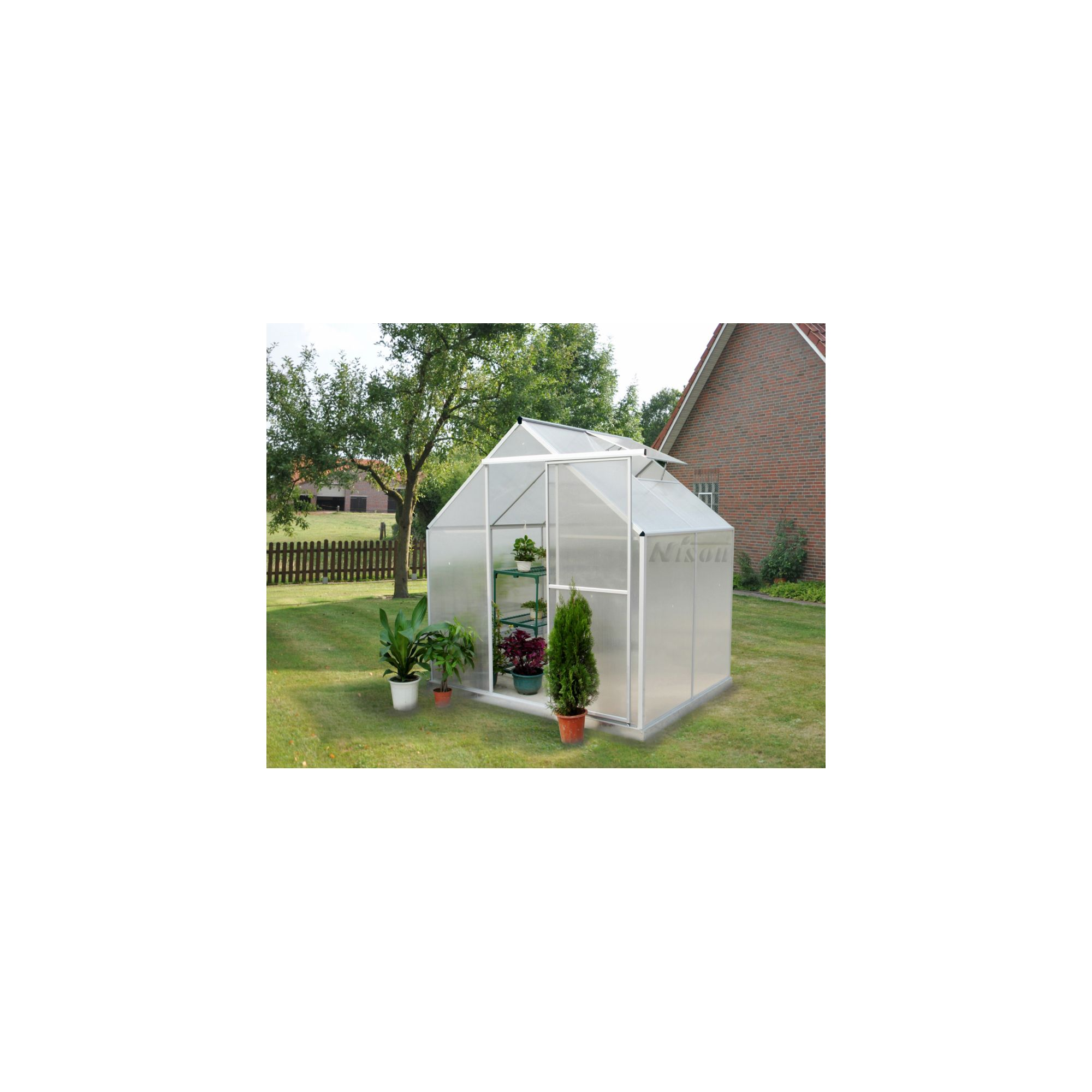 Nison Aquila 4x6 Aluminium Polycarbonate Greenhouse, Including Base & Free Shelving at Tesco Direct