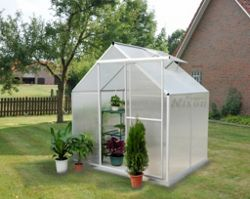 Nison Aquila 4x6 Aluminium Polycarbonate Greenhouse, Including Base & Free Shelving