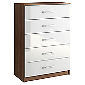 Birlea Lynx Five Drawer Chest - White and Walnut