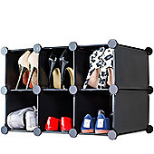 Andrew James Shoe Organiser - 6 Hole Shoe Rack in Black