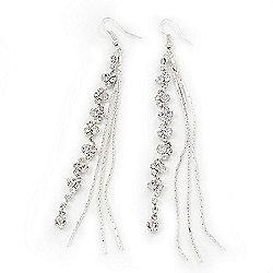Long Silver Plated Clear Diamante 'Tassel' Drop Earrings - 11cm Length