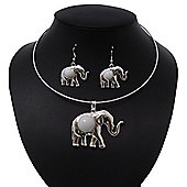 Silver Plated Flex Wire 'Elephant' Pendant Necklace & Drop Earrings Set With White Stone - Adjustable