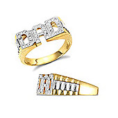 Jewelco London 9ct Solid Gold CZ set Dad Ring