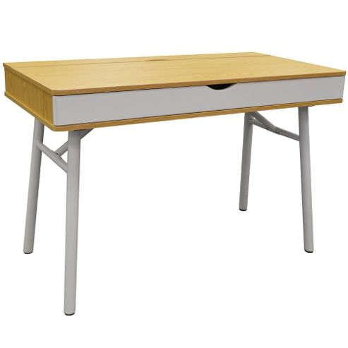 Buy tech hideaway office desk computer workstation oak white from our office desks - Tesco office desk ...