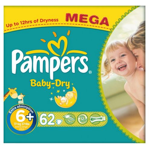 Pampers Baby Dry Size 6+ Mega Pack - 62 nappies