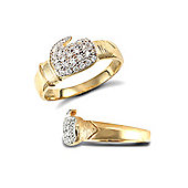 Jewelco London 9ct Solid Gold light weight polished Boxing Glove Ring hand-set with CZ stones