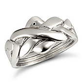 9ct Solid white Gold hand assembled 4 Piece Puzzle Ring