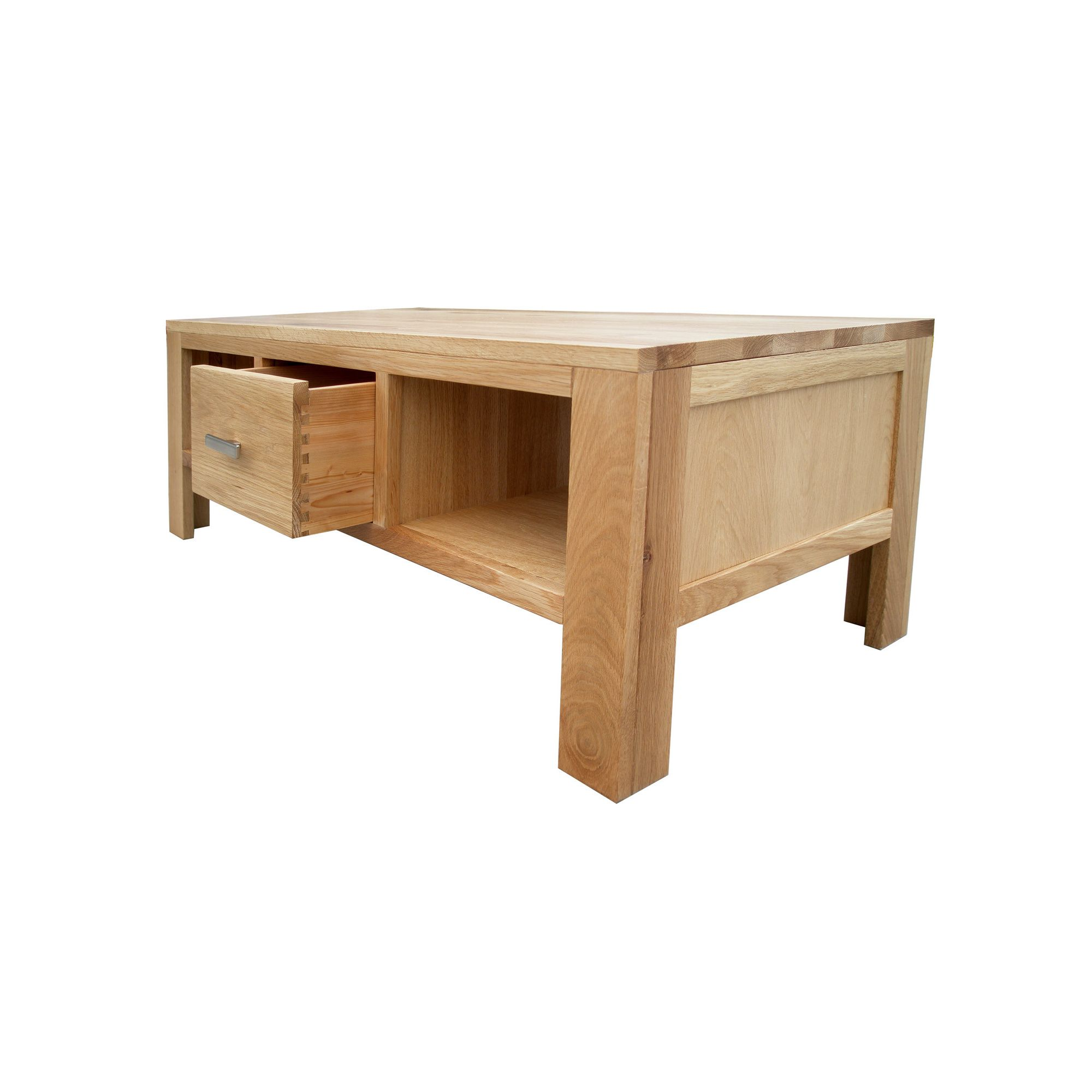 Home Zone Furniture Churchill Oak 2010 Large One Drawer Coffee Table in Natural Oak at Tesco Direct
