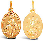 Jewelco London 9ct Solid Gold Miraculous Medallion Pendant