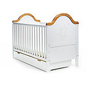 Obaby B is for Bear Cot Bed & Under Drawer - White with Pine Trim