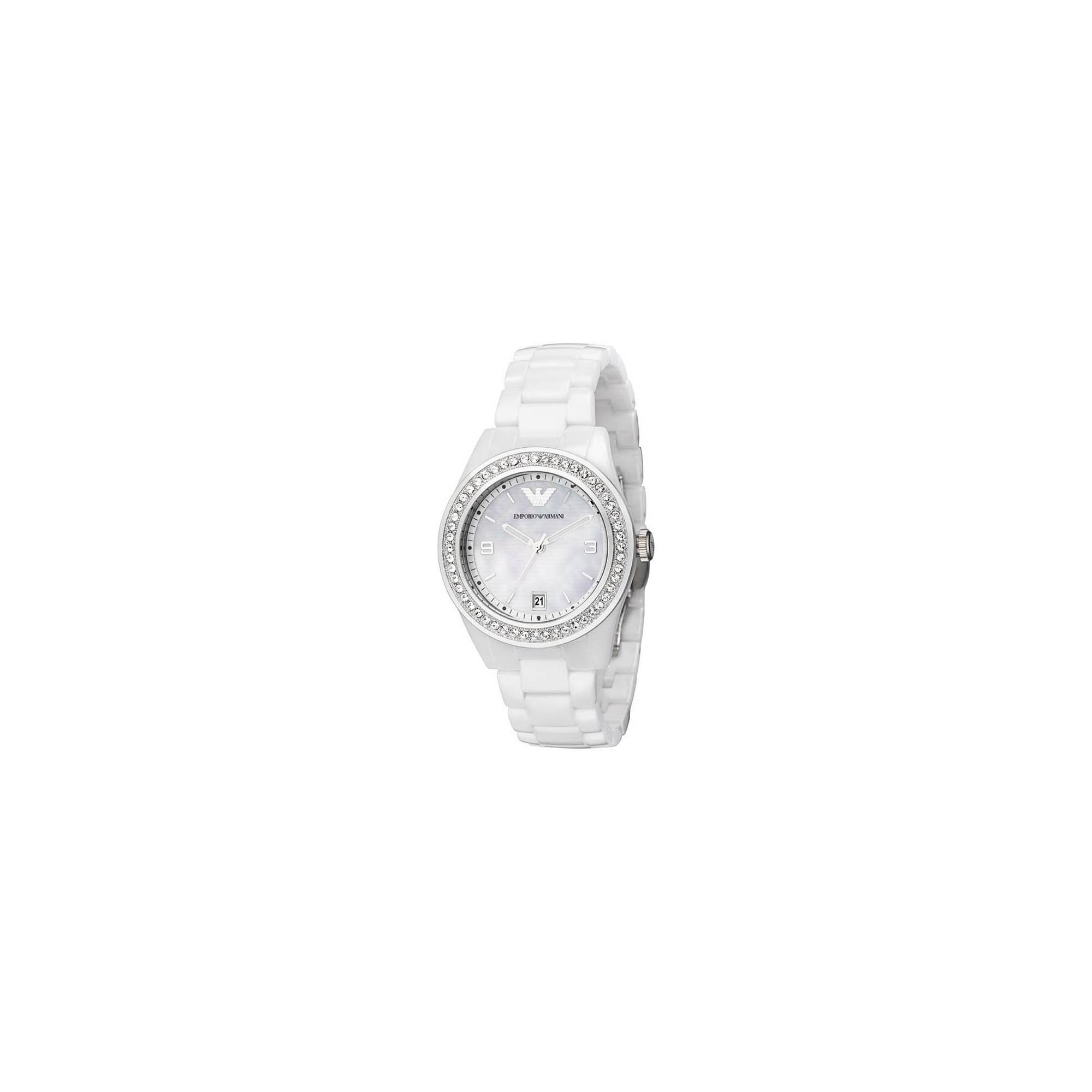 Emporio Armani White Ceramica Watch AR1426 at Tesco Direct