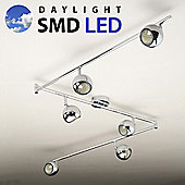 Retro Six Way Adjustable Daylight LED Ceiling Spotlight in Chrome