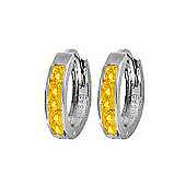 QP Jewellers 0.85ct Citrine Hoop Earrings in Sterling Silver