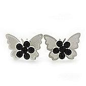 Teen Rhodium Plated Black Crystal 'Butterfly' Stud Earrings - 15mm Width