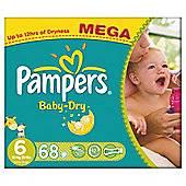Pampers Baby Dry Size 6 Mega Pack - 68 nappies