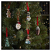 Vintage Glass Figure Christmas Tree Decorations, 12 pack