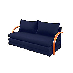 Comfy Living Fold Out Sofa Bed with Wooden Arms in Navy