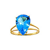 QP Jewellers 5.0ct Blue Topaz Pear Drop Ring in 14K Gold