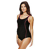 F&F Neon Piped Cross-Back Maternity Swimsuit - Black