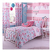 Catherine Lansfield Home Kids Cotton Rich Sweethearts Single Bed Cotton Rich Duvet Cover set Multi