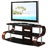 Jual Curve - Curved Walnut / Black 50 inch TV Stand
