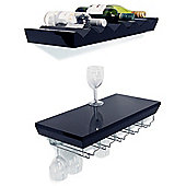Monteray - Wall Mounted Wine Shelf Set Of Two - Black
