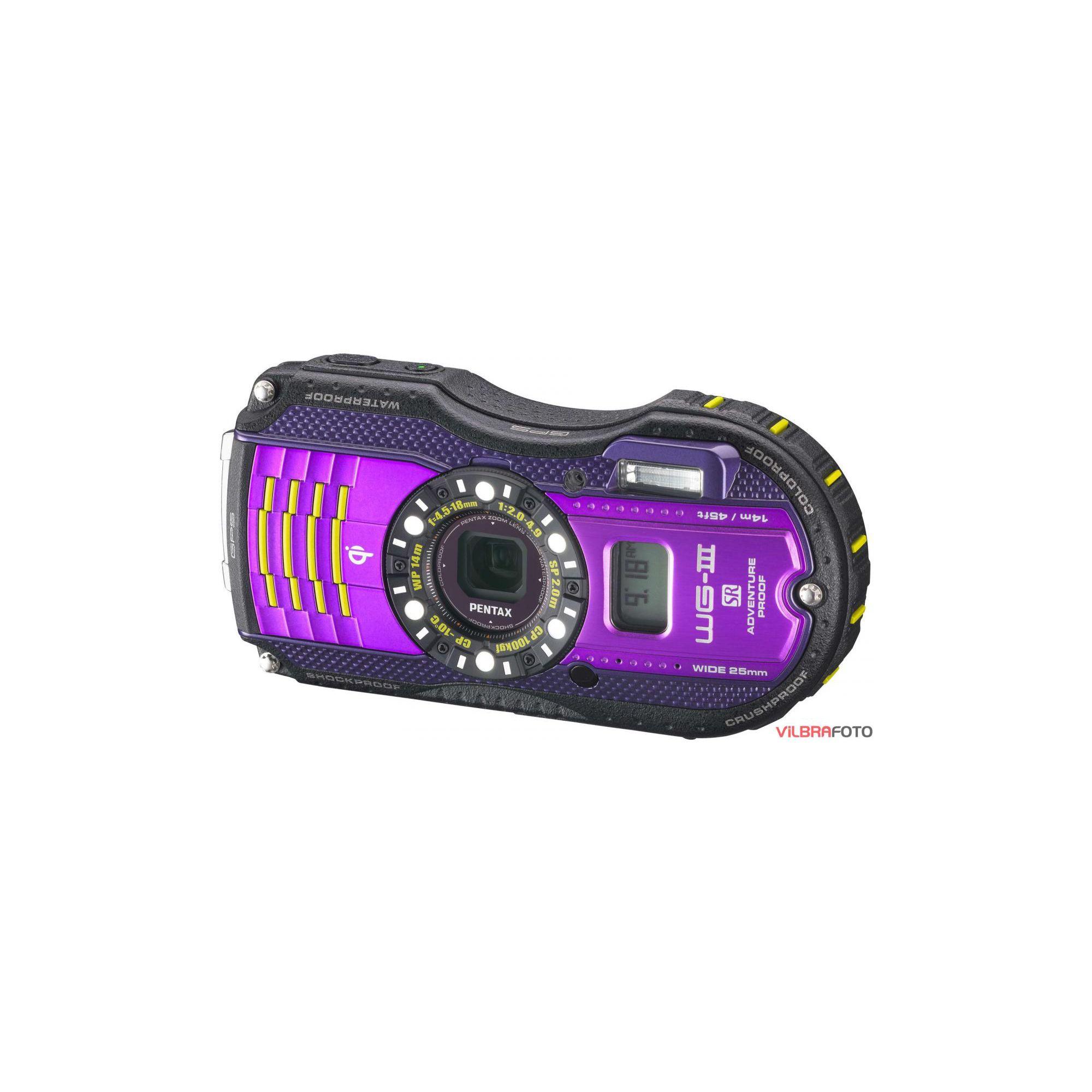 Pentax WG-3 Digital Camera, Purple, 16MP, 4x Optical Zoom, 3.0 inch LCD Screen