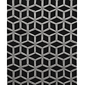 Think Rugs Hong Kong Black/Grey Tufted Rug - 80 cm x 150 cm (2 ft 8 in x 4 ft 11 in)