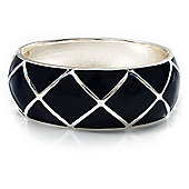 Wide Navy Blue Enamel Ornamental Hinged Bangle Bracelet (Silver Tone)