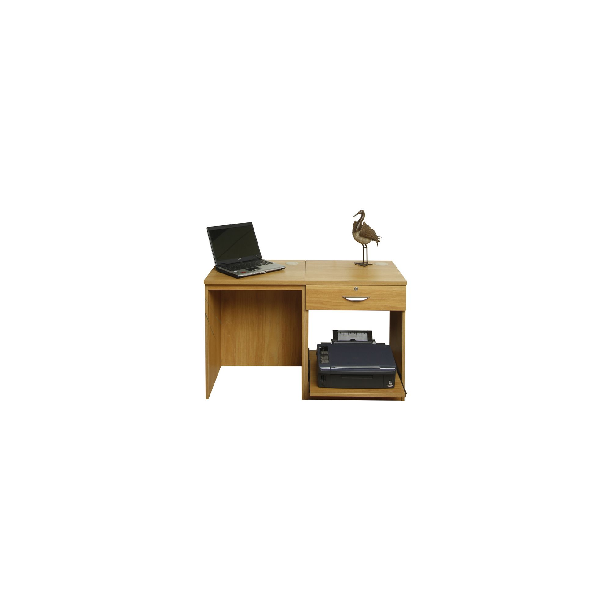 Enduro Home Office Desk / Workstation with Drawer and Printer Storage - Walnut at Tesco Direct