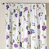 Rectella Charlotte Lavender Print Lined Pencil Pleat Curtains - 112x183cm