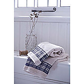 Catherine Lansfield Home Cosy Corner Swing Check Border 450gsm Bath Towel Cream & Navy