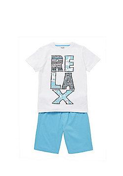 F&F Relax Slogan Shorts Pyjamas - Blue & White