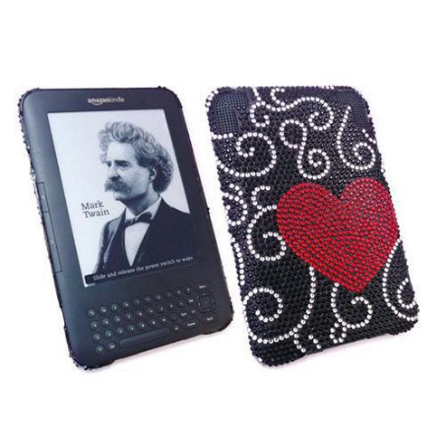 iTALKonline Screen Protector and Premium FunkGem Love Heart Case Red/Black - For Amazon Kindle 3 3G