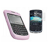 Pink Silicone Case + LCD Screen protector and Cleaning Cloth - Blackberry 8900