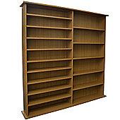 Extra - 1300 Cd / 552 Dvd / Large Media Book Storage Shelves - Oak