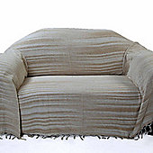 Homescapes Bed Sofa Throw Cotton Chenille Tie Dye Beige, 220 x 240 cm