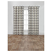 Woven Check Lined Eyelet Curtains - Grey - 66 X 90