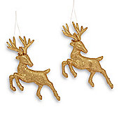 Set Of Two Hanging Gold Glitter Reindeer Christmas Decorations