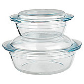 Tesco Glass Casserole Dish, 2 Piece Set, 2.3L/1L