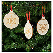 Tesco Wooden Shape Hanging Christmas Bauble Decoration, 6 Pack