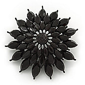 Layered Black Acrylic Floral Brooch In Gun Metal Finish - 5cm Diameter