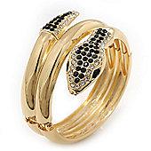 Black/Clear Swarovski Crystal 'Snake' Hinged Bangle Bracelet In Gold Plating - 19cm Length