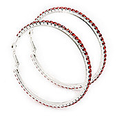 Red Swarovski Crystal 'Hoop' Earrings In Rhodium Plating - 6cm Diameter