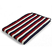 Baroo Striped Knitted Pram Blanket (Blue, Red and White)