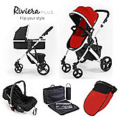Riviera Plus 3 in 1 White Travel System, Black & Coral Red