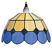 Loxton Lighting Bistro Down-Lighter in Beige and Blue with Tiffany Shades - 25 cm