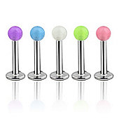 Pack of Five Stainless Steel Body Piercing Labret Studs & Glow in the Dark Balls 1.2mm