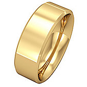 Jewelco London 9ct Yellow Gold - 7mm Essential Flat-Court Bevelled Band Commitment / Wedding Ring - Size Z 1/2