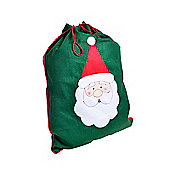 Green Felt Santa Sack Christmas Gift Bag with Stitched Father Christmas Design - Large